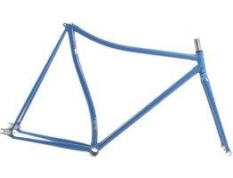 Niebieska rama rower ostre koło single speed