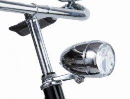 Srebrna przednia lampka rowerowa